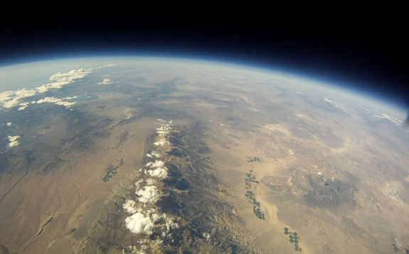 A shot of California's White Mountains taken from the stratosphere by a high-altitude balloon on Sept. 3, 2011. The balloon was launched by Earth to Sky, a group of high school and middle school students in Bishop, Calif.