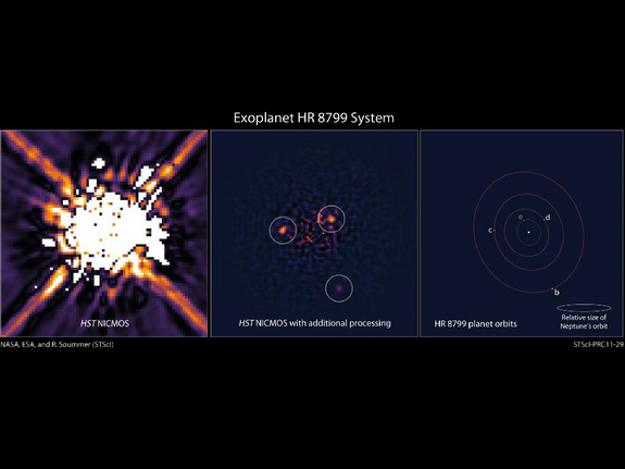 The left image shows the star HR 8799 as seen by Hubble's Near Infrared Camera and Multi-Object Spectrometer (NICMOS) in 1998. The center image shows recent processing of the NICMOS data with newer, sophisticated software. Further processing reveals three planets orbiting HR 8799. The illustration on the right shows the positions of the star and the orbits of its four known planets.