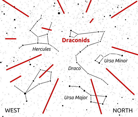 This map shows how to find the Draconid meteor shower during its peak on Oct. 8, 2011.