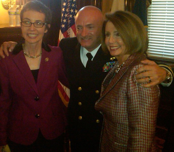 Rep. Giffords, Capt. Mark Kelly, and Congresswoman Nancy Pelosi