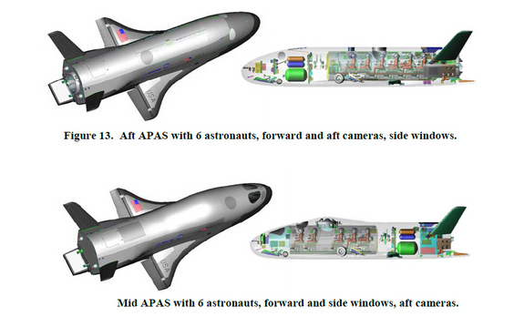 These designs from a Boeing study show configuration for a crewed space plane (X-37C) derived from the unmanned X-37B spacecraft.  The designs could carry up to six astronauts to low-Earth orbit and include autonomous and piloted flight capabilities.