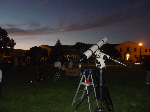 Amateur astronomers' telescopes are trained on the moon at NASA's Ames Research Center during International Observe the Moon Night on Oct. 8, 2011.