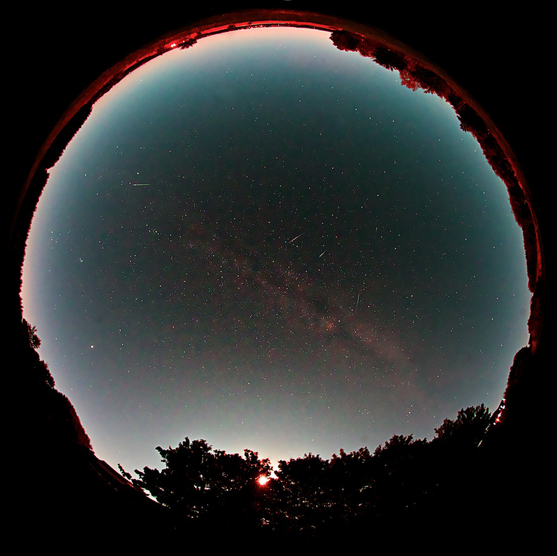 Jesper Grønne of Silkeborg, Denmark used a fisheye lens to make this image of Draconid meteors in October, 2011.