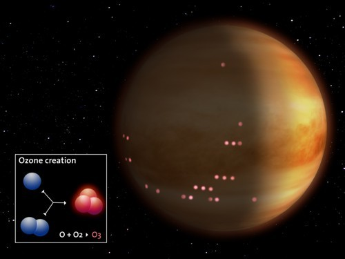 Artist's impression of the detection of ozone on Venus' night side.