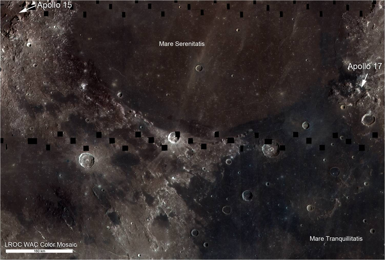 This lunar mosaic shows the boundary between Mare Serenitatis and Mare Tranquillitatis. The relative blue color of the Tranquillitatis mare is due to higher abundances of the titanium-bearing mineral ilmenite.