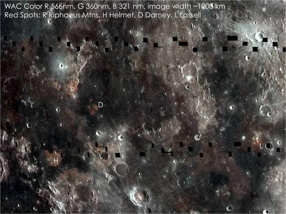 """This composite image of the lunar surface highlights regions with varying mare compositions and enigmatic small volcanic structures known as """"domes."""""""