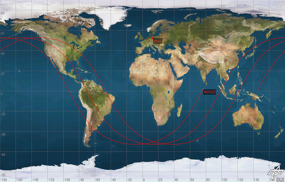 A sample representation based on three consecutive orbits of ROSAT around the Earth. Each of these orbits has a duration of about 90 minutes. The path of one orbit to another gradually changes above Earth's surface. This image shows ROSAT on 12 April 2011.