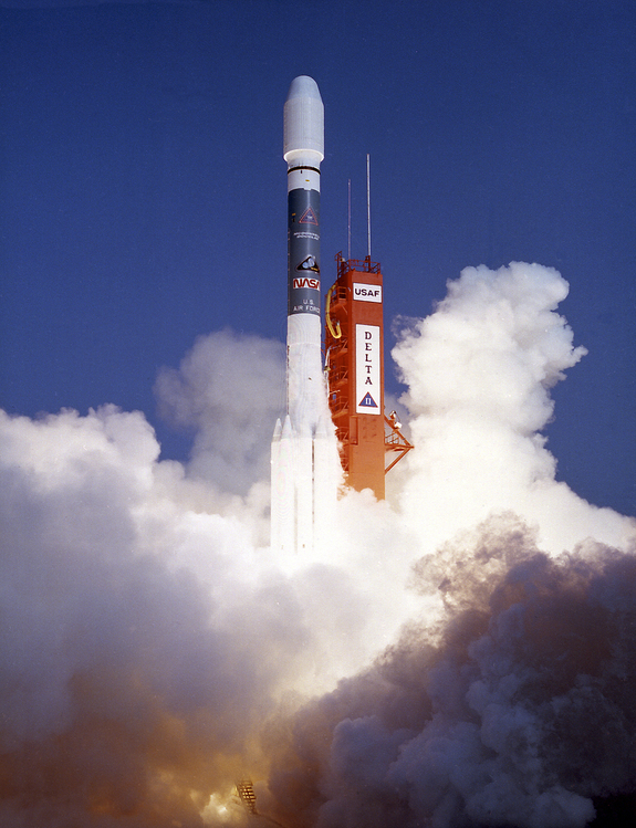 The ROSAT satellite was launched from Cape Canaveral in Florida on June 1, 1990 aboard a Delta 2 rocket. Originally, the plan was to put ROSAT in Earth orbit using a space shuttle. Following the Challenger accident in 1986 (when ROSAT was under construction), it was decided to use a rocket instead.