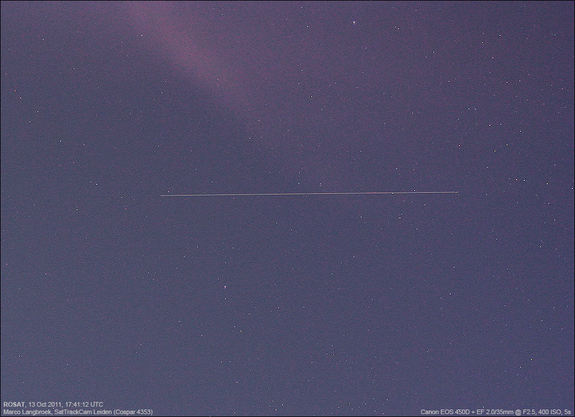 "On Oct. 14, 2011, astrophotographer Marco Langbroek of the Netherlands caught this view of the German satellite ROSAT, which is expected to fall to Earth in October 2011. He said: ""I just observed the satellite again, in even deeper twilight. It is moving very fast, quite a spectacular view."""