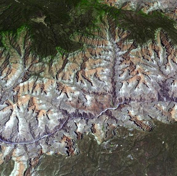 The Advanced Thermal Emission and Reflection Radiometer (ASTER) instrument on NASA's Terra spacecraft provided this spacebird's-eye view of the eastern part of Grand Canyon National Park in northern Arizona in this image, acquired July 14, 2011