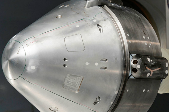 Boeing is testing a 12-by-14 inch aluminum model of its CST-100 space capsule in a wind tunnel at NASA's Ames Research Center. The company has said it hopes the CST-100 will be flying astronauts to and from the International Space Station by 2015.