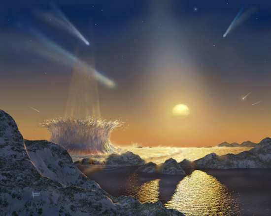 An artist's impression of a planet being sterilized by a continuous bombardment of comets and meteors. A new study shows that such impacts would not have completely sterilized the early Earth