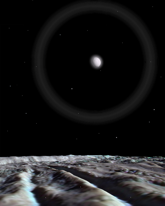 "Artistic rendering of the surface of Enceladus. One of the active ""tiger stripe"" ridges crosses the scene in the foreground, its active areas a strong blue color indicating freshly exposed water ice. A hazy, bright Mimas hangs over the scene, surrounded by a faint moon ring or halo formed by refraction of light by fine, snowy particulates slowly falling to the surface."