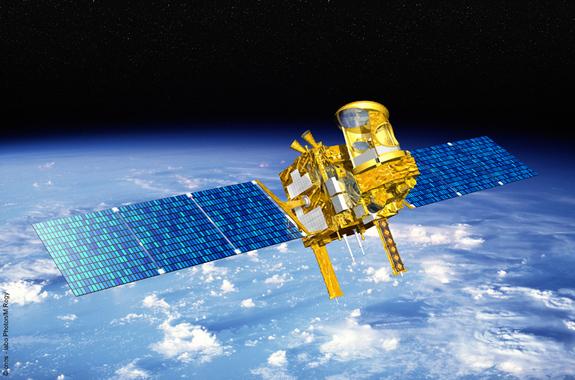 Artist's concept of the Megha-Tropiques satellite in orbit.