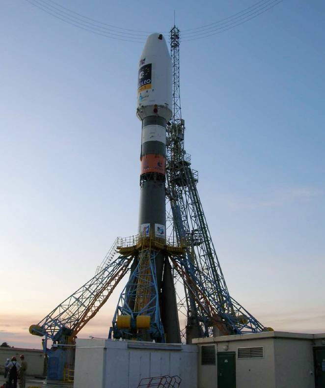 Soyuz Rocket Carrying European Navigation Satellites Readied for Launch
