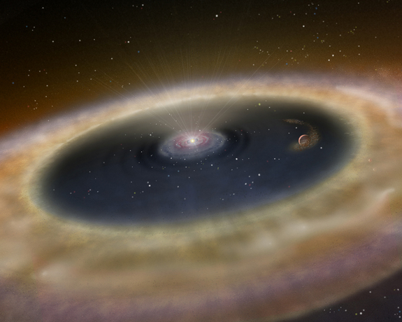 Artist's conception of the newly born alien planet LkCa 15 b and its parent star, which are found about 450 light-years from Earth in the constellation Taurus.
