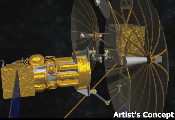 Artist's impression of a servicing satellite (left) — to be developed under the U.S. military's Phoenix program — preparing to remove a still-functioning antenna from a defunct satellite (right) in geosynchronous orbit.