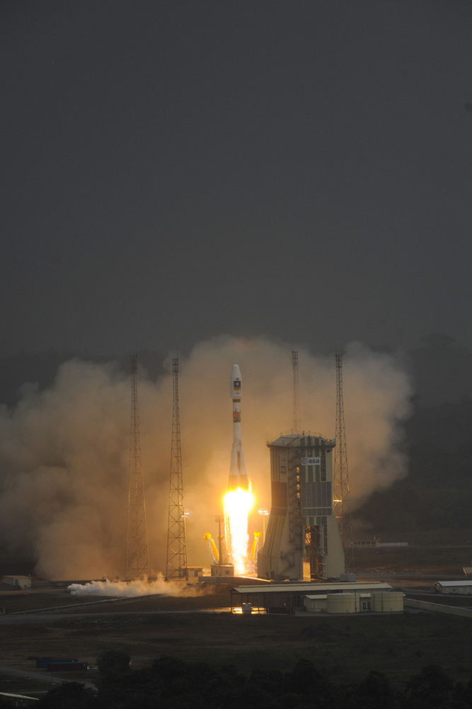 Soyuz just begins to lift off for the first time from Europe's spaceport in French Guiana carrying the first two Galileo In-Orbit Validation satellites, on October 21, 2011.