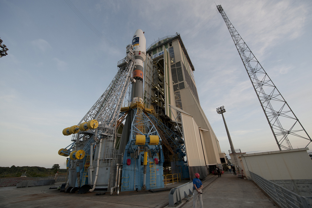 Soyuz VS01 on the Launch Pad (Low Angle)