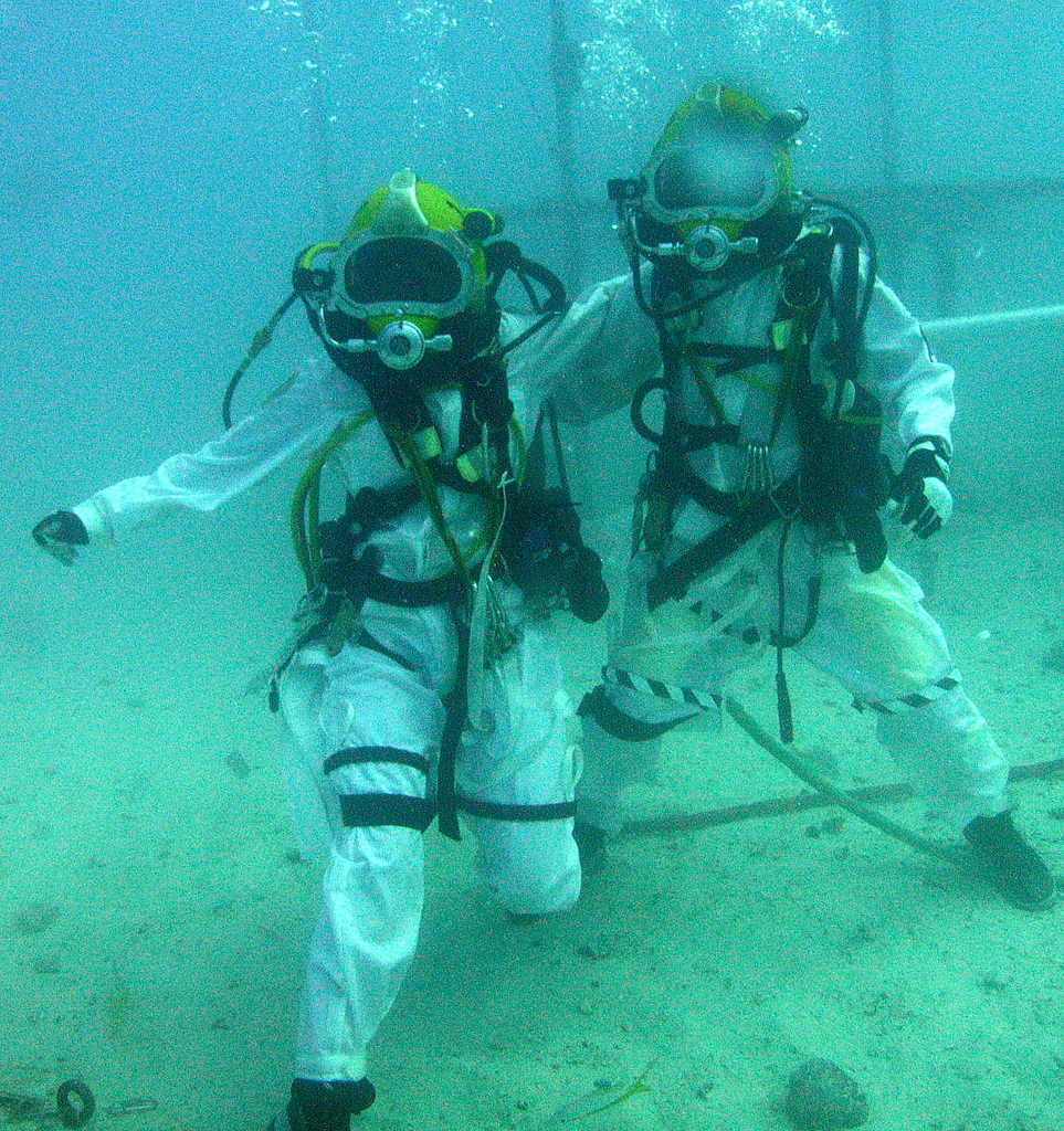 Astronauts Pose for Picture Underwater