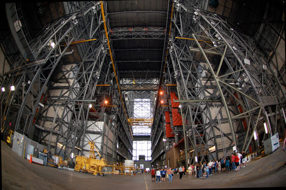Wide-angle view looking down the transfer aisle of the Vehicle Assembly Building at NASA's Kennedy Space Center, Florida. Beginning Nov. 1, 2011, the public will again be allowed in the VAB after more than 30 years being closed to general tours.