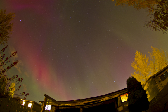 Canadian skywatcher Colin Chatfield caught this view of a stunning aurora display over his home in Saskatoon, Saskatchewan on Oct. 24, 2011.