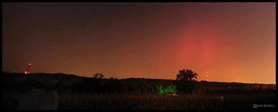 Astrophotographer Jeff Berkes took this photo of a dazzling aurora display from West Chester, Pa., on Oct. 24, 2011.