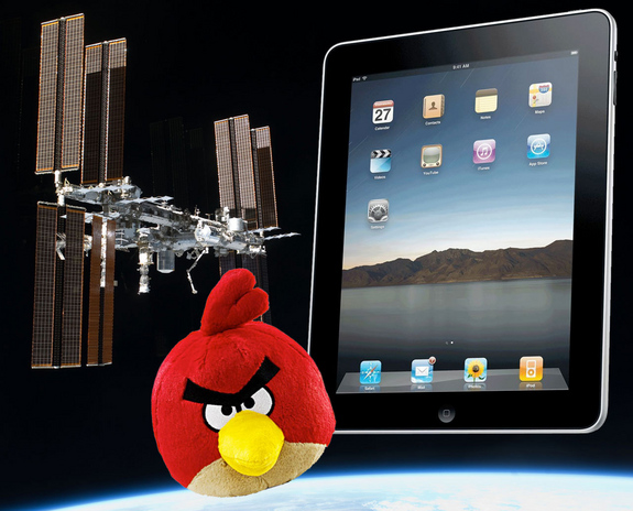 "The first Apple iPads in space and an ""Angry Birds"" plush doll were launched to the International Space Station (ISS) in late 2011."