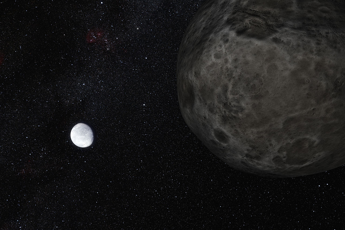 This artist's impression shows the distant dwarf planet Eris in the distance with its moon Dysmonia in the foreground. New observations have shown that Eris is smaller than previously thought and almost exactly the same size as Pluto. Eris is extremely re