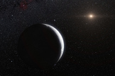 This artist's impression shows the distant dwarf planet Eris. New observations have shown that Eris is smaller than previously thought and almost exactly the same size as Pluto. Eris is extremely reflective and its surface is probably covered in frost formed from the frozen remains of its atmosphere. The distant Sun appears to the upper right and both Eris and its moon Dysnomia (center) appear as crescents.