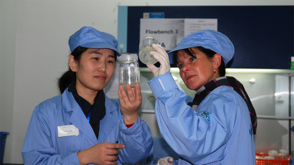 German and Chinese researchers prepare biological samples for the SIMBOX research payload in a laboratory at the Chinese Academy of Sciences.