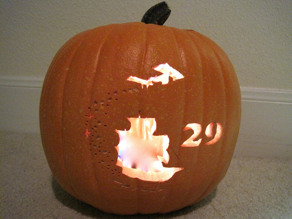 An Expedition 29 Halloween pumpkin carved by Liz Warren.