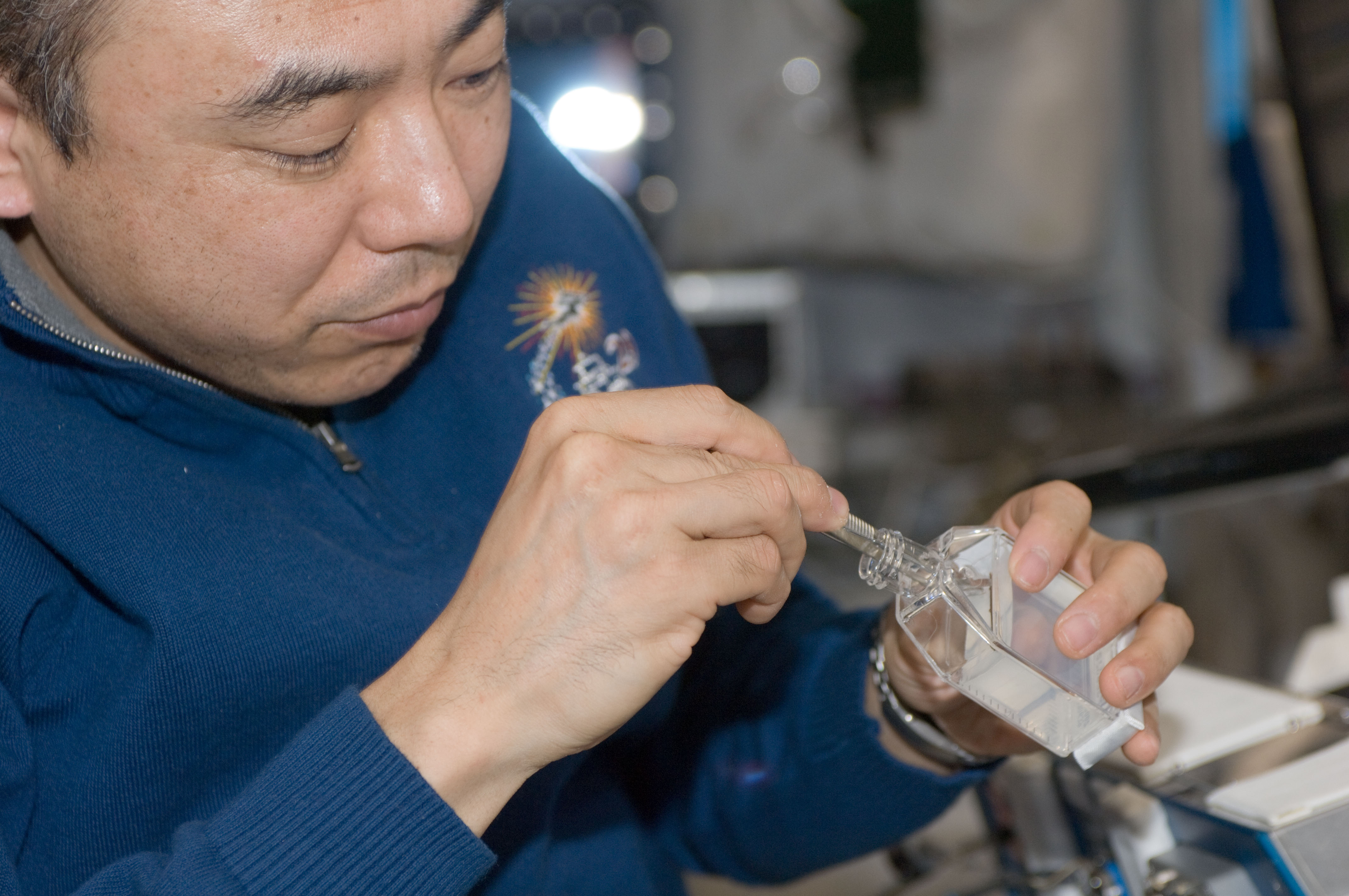 Satoshi Furukawa Conducts an Experiment in the Columbus Laboratory