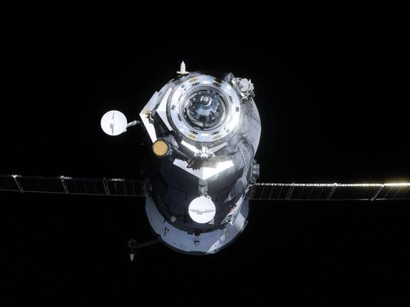 The unpiloted ISS Progress 42 supply vehicle departs from the International Space Station at 5:04 a.m. (EDT) on Oct. 29, 2011. Filled with trash and discarded items, Progress 42 was deorbited at 8:10 a.m., subsequently burning up in Earth's atmosphere.