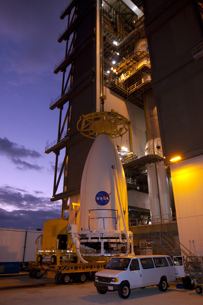 Mars Science Laboratory About to Be Lifted at Dawn