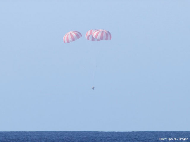 Dragon Spacecraft Landed in the Pacific Ocean
