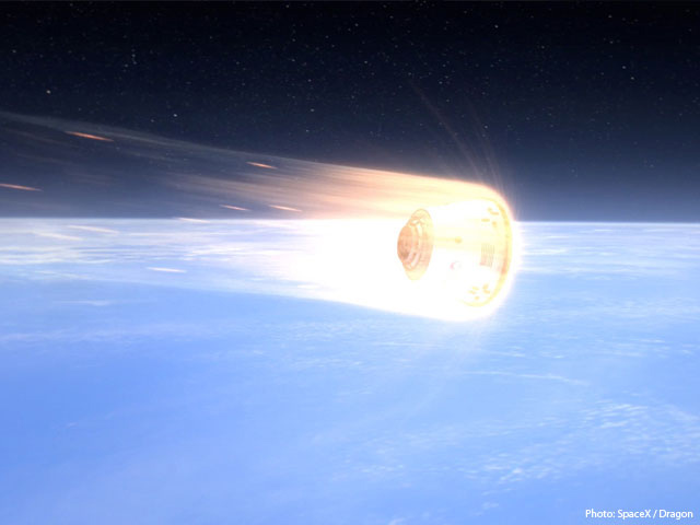 Artist's Rendition of Dragon Spacecraft Reentering Earth's Atmosphere