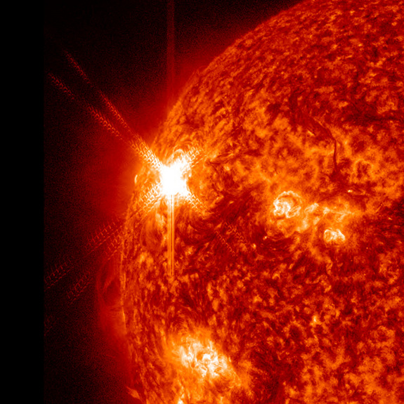 NASA's Solar Dynamics Observatory snapped this image of a massive X1.9 class solar flare on the sun on Nov. 3, 2011 at 4:27 p.m. EDT, The flare erupted from an extremely active region on the sun called AR11339.