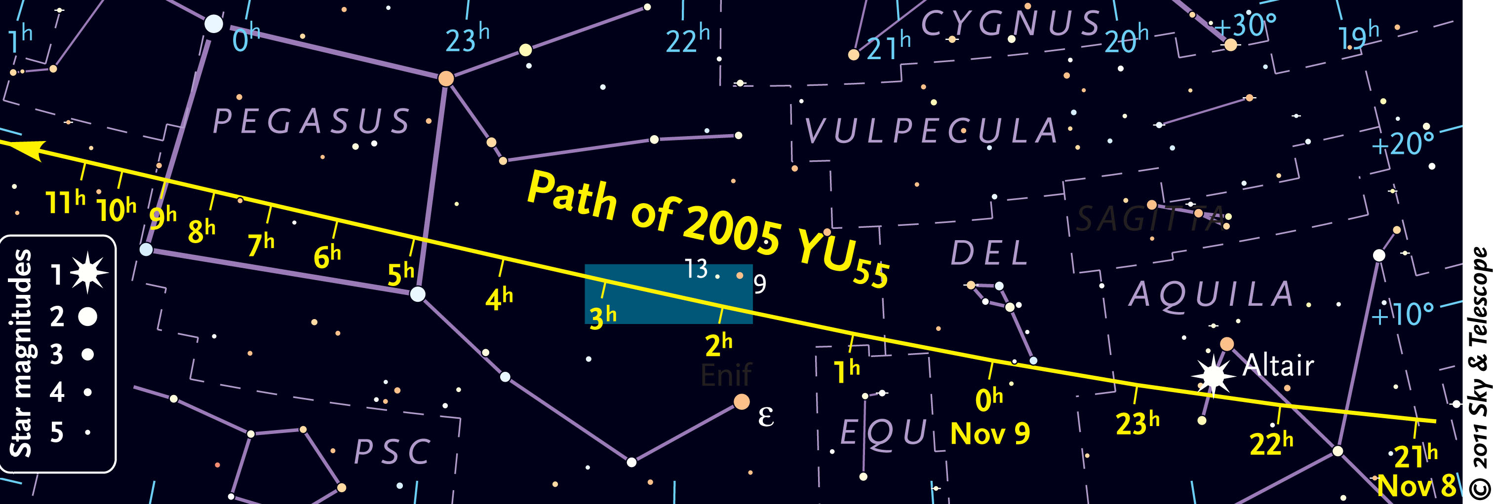 Sky Chart for Asteroid 2005 YU55