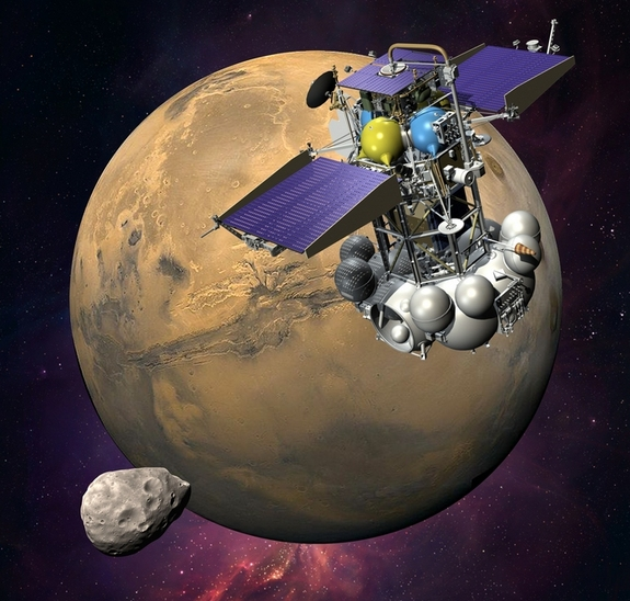 An artist's concept of the Phobos-Grunt spacecraft nearing the Martian moon Phobos, something the failed probe never got to do.