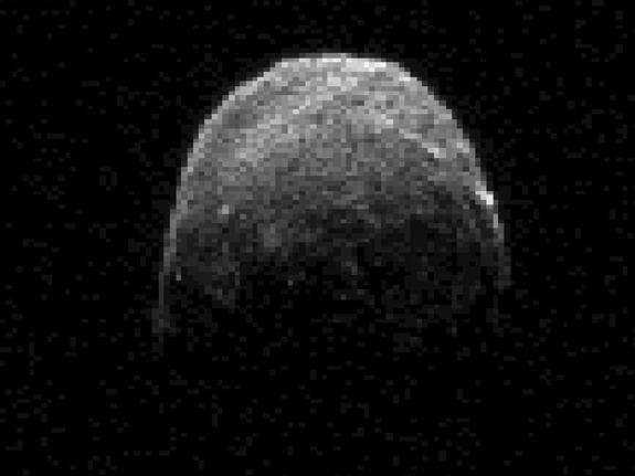 This radar image of asteroid 2005 YU55 was obtained on Nov. 7, 2011, at 11:45 a.m. PST (2:45 p.m. EST/1945 UTC), when the space rock was at 3.6 lunar distances, which is about 860,000 miles, or 1.38 million kilometers, from Earth.