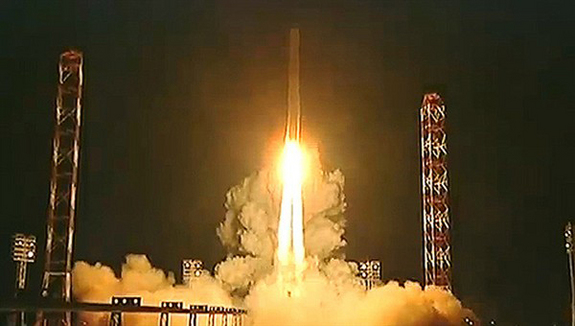 A Zenit rocket launches into space carrying Russia's Phobos-Grunt spacecraft toward Mars on a mission to collect samples of the Martian moon Phobos. Liftoff occured on Nov. 9, 2011 Local Time from Baikonur Cosmodrome in Kazakhstan (Nov. 8 EST).