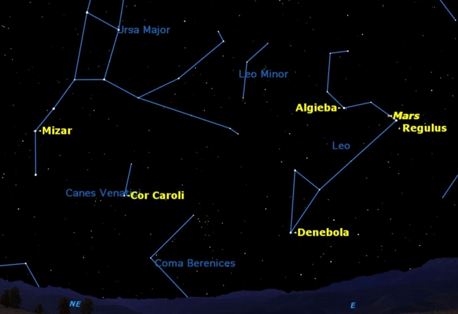 Planet Mars Shines with Bright Star This Week