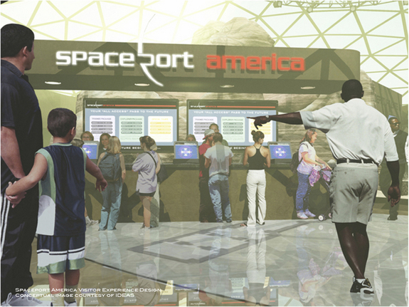 New Mexico's Spaceport America is to include a visitor experience, as shown in this conceptual image.