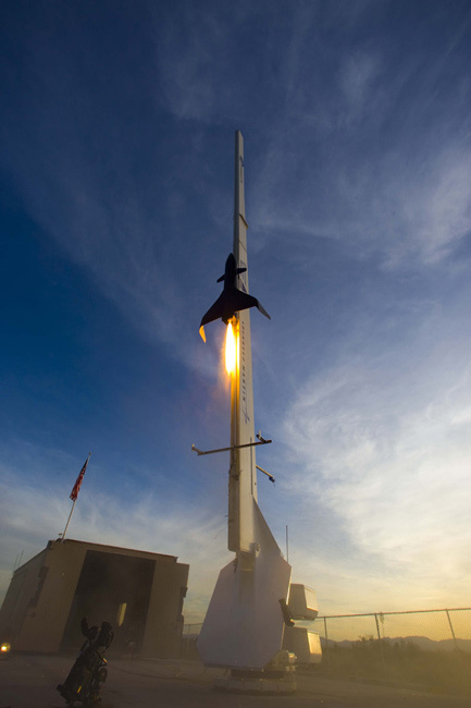 Lockheed Martin's autonomous rocket plane lifts off from the UP Aerospace launch complex at Spaceport America in Southern New Mexico in August 2008.