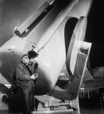 Edwin Hubble, credited with the discovery of the expansion of the universe, at the Mount Wilson Observatory