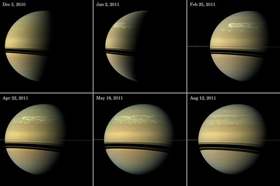 This series of images from NASA's Cassini spacecraft shows the development of the largest storm seen on the planet since 1990.