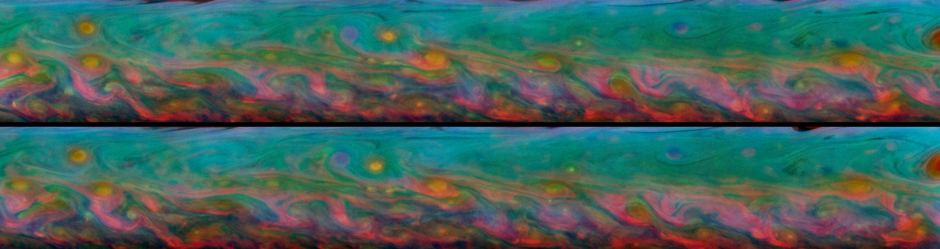 Saturn's Rainbow Storm