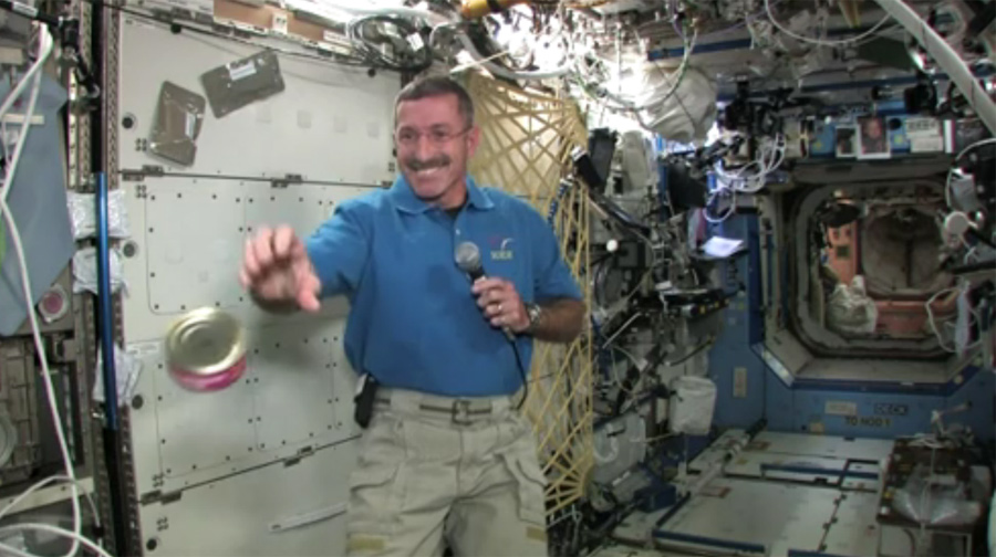 Astronaut Catches Space Food