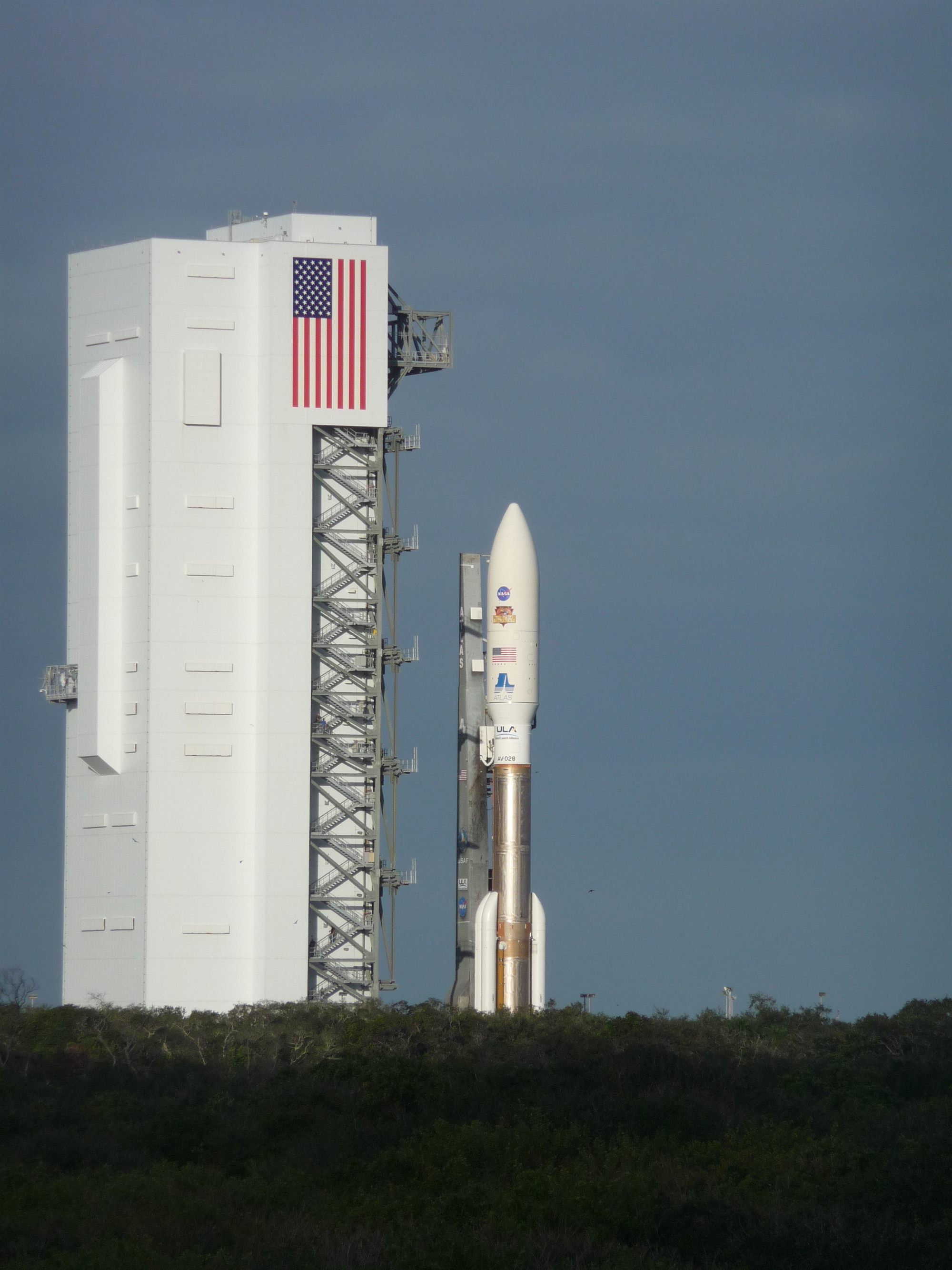 Curiosity Rover and Atlas 5 Rocket Roll Out
